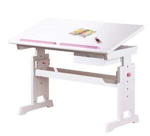 Ergonomischer Kinderschreibtisch Schreibtisch Baru Massivholz weiss höhenverstellbar neigbar