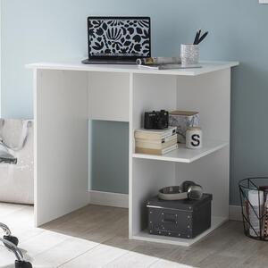 WOHNLING Computertisch WL5.757 Weiß Schreibtisch 82 x 60 x 76 cm   Kleiner Laptop PC Tisch Büro ohne Rollen   Bürotisch mit Ablage   Arbeitstisch Klein Nähtisch Kurz Modern