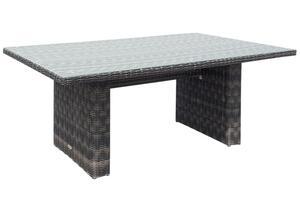 Garden Pleasure Tisch BORDEAUX Stahl / Kunststoffgeflecht mit Glasplatte 970370