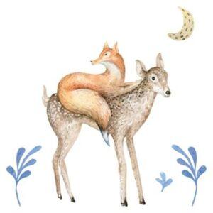 Wandtattoo Aquarell Reh mit Fuchs und Mond Wandtattoos mehrfarbig Gr. 100 x 100
