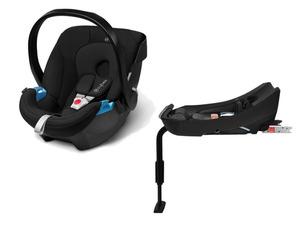 CYBEX SILVER Set Babyschale Aton Pure Black und Base-Fix SL
