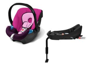 CYBEX SILVER Set Babyschale Aton Purple Rain und Base-Fix SL