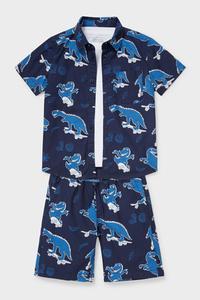 C&A Set-Hemd, Kurzarmshirt und Shorts-Bio-Baumwolle, Blau, Größe: 92