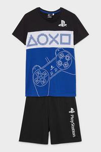 C&A PlayStation-Shorty-Pyjama-Bio-Baumwolle-2 teilig, Schwarz, Größe: 134