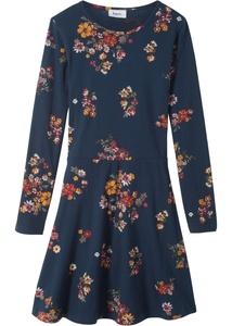 Mädchen Langarm-Jerseykleid mit Blumenmuster