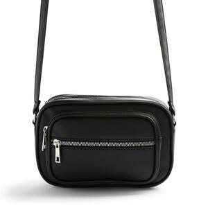 Schwarze Kameratasche aus Kunstleder (PU)