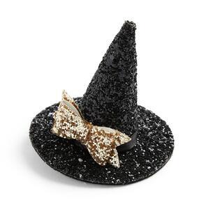 Glitzernde, schwarze Halloween-Haarspange mit Hexenhut-Design