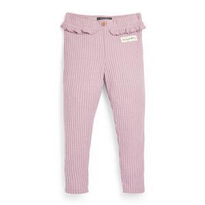 Rosafarbene Leggings mit Waffelmuster (kleine Mädchen)
