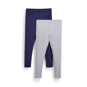 Marineblaue/graue Leggings, 2er-Pack (kleine Mädchen)