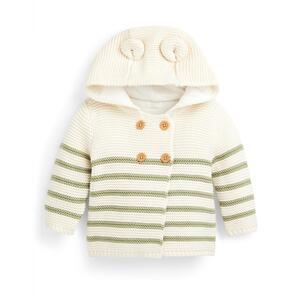 Elfenbeinfarbener gestreifter Cardigan für Neugeborene (J)
