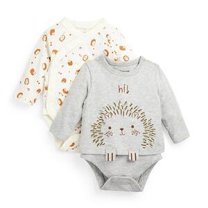 Bodys mit Igel-Print für Neugeborene (J), 2er-Pack