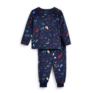 """Marineblaues flauschiges """"Space"""" Pyjamaset für Babys (J)"""
