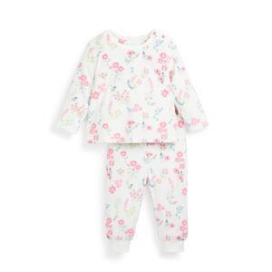 Flauschiges Pyjamaset mit Blumenmuster für Babys (M)