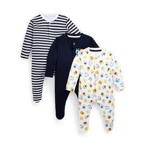 Schlafanzüge mit Monster-Print für Babys (J), 3er-Pack