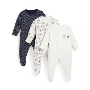 Marineblaue Schlafanzüge mit Kätzchen-Print für Babys (M), 3er-Pack