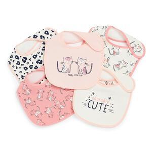 Lätzchen aus Kunststoff mit Kätzchen-Print für Babys (M), 5er-Pack