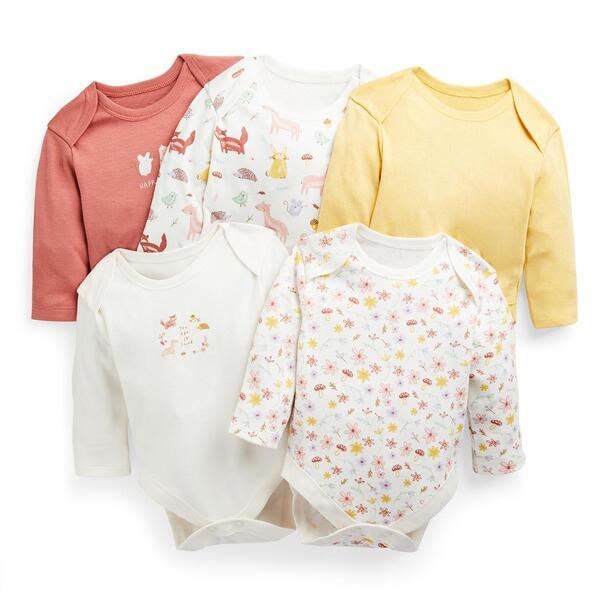 Bodys mit Wald-Print für Babys (M), 5er-Pack