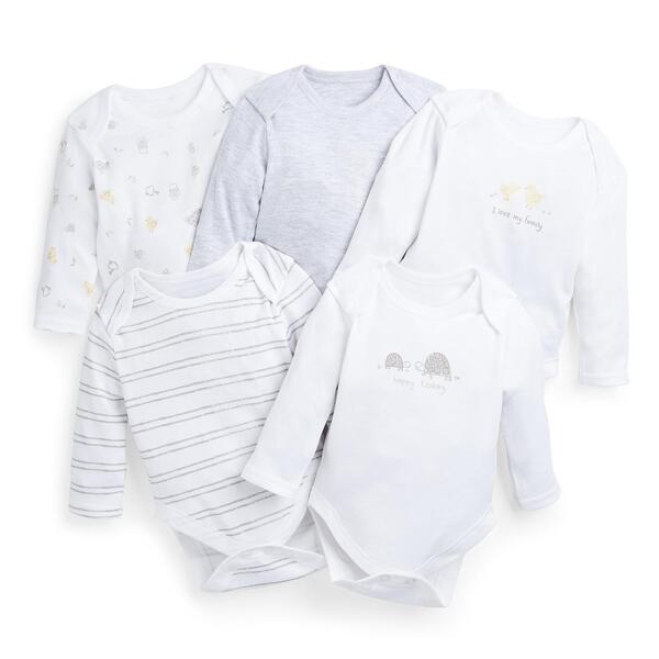 Weiße Bodys für Neugeborene, 5er-Pack