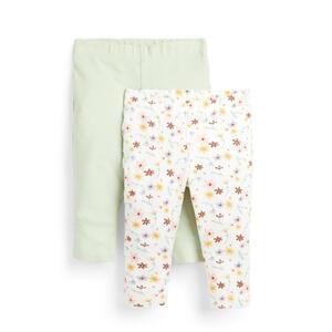 Leggings mit Blumenmuster und Rüschen für Neugeborene (M), 2er-Pack