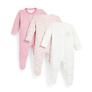 Rosa Schlafanzüge mit Häschen-Print für Babys (M), 3er-Pack
