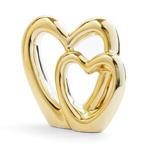 Goldfarbene Keramik-Dekoration mit Herz-Design