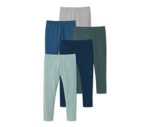 5 Jersey-Leggings, blau, grau, grün