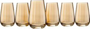 my home Longdrinkglas »Naila«, Glas, mit hochwertiger goldfarbener Optik, 350 ml, 6-teilig