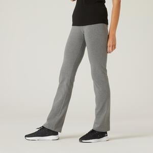 Leggings aus Baumwolle Fitness Fit+ gerader Schnitt grau