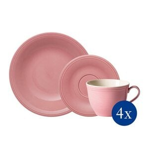 like. by Villeroy & Boch Geschirr-Set »Color Loop Rose« (12-tlg), Porzellan, Color Loop Rose, Kaffee