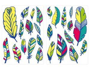 Wandtattoo Federn mit Streifen 25 Stück Wandtattoos mehrfarbig Gr. one size