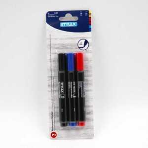 Stylex 3er-Pack Permanentmarker, farbig sortiert, wasserfest