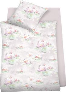 Schlafgut Mako-Satin Bettwäsche Waterlily bügelleicht Blumen#Blatt  135x200 cm (80x80 cm)