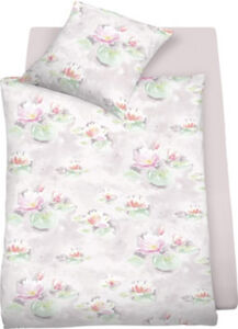 Schlafgut Mako-Satin Bettwäsche Waterlily bügelleicht Blumen#Blatt überlang 155x220 cm (80x80 cm)