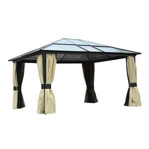 Outsunny Luxus Pavillon Gartenpavillon Gartenzelt Partyzelt Zelt, Alu+Polycarbonat, 420x360x265cm