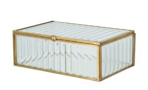 Aufbewahrungsbox - gold - Glas , Metall - 20 cm - 6,5 cm - 12 cm - Dekoration