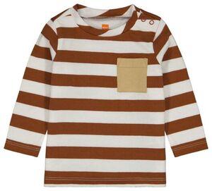 HEMA Baby-Shirt, Streifen Braun