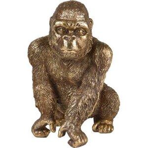 Deko-Figur Gorilla Sitzend Safari Lodge 22 cm Gold