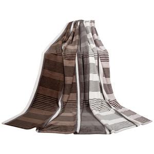 Bella Casa Mikrofaser-Flauschdecke, ca. 150 x 200 cm, Streifen Grau-Beige