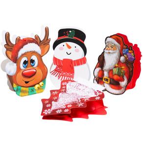 Geschenktasche 20 x 16 x 5 cm mit Weihnachtsmotiv gestanzt in vier Motiven