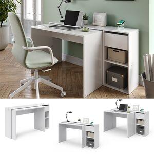 Vicco Schreibtisch Ben Computertisch ausziehbar Bürotisch Weiß QI-Ladestation kabellos