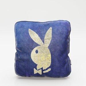 """PLAYBOY - Dekokissen """"ELLEN"""" mit Samtüberzug in Blau und gold/weissen Wendepailletten, mit Bunny, inkl Füllung"""