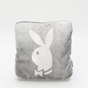 """PLAYBOY - Dekokissen """"ELLEN"""" mit Samtüberzug in Grau und gold/weissen Wendepailletten, mit Bunny, inkl Füllung"""