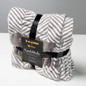 """PLAYBOY - Kuscheldecke """"JACKIE"""", luxuriöse, weiche Decke, Grau bedruckt, Premium-Microfaser"""