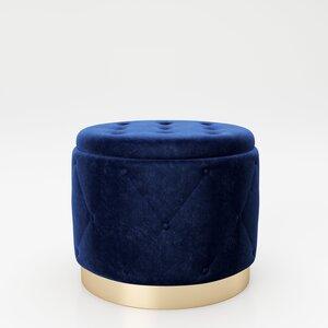 """PLAYBOY - Pouf """"LIZ"""" gepolsterter Sitzhocker mit Stauraum, Samtstoff in Blau und Chesterfield-Optik, Metallfuss in Goldoptik, Retro-Design"""