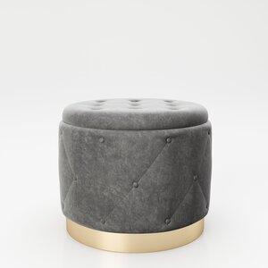 """PLAYBOY - Pouf """"LIZ"""" gepolsterter Sitzhocker mit Stauraum, Samtstoff in Grau und Chesterfield-Optik, Metallfuss in Goldoptik, Retro-Design"""