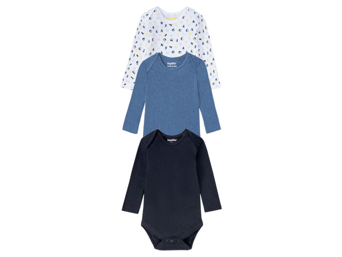 Bild 2 von LUPILU® 3 Baby Jungen Bodies, Bio-Baumwolle