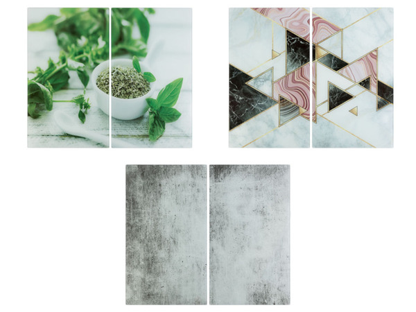 ERNESTO® Abdeckplatten aus Glas, 2er Set, Antirutschfüße