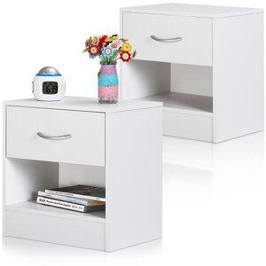 Deuba Nachttisch Nachtkonsole mit Schublade Weiß 2er Set