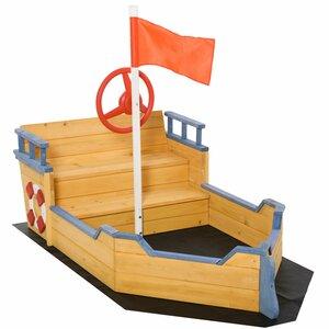 Outsunny Holzspielboot für Kinder mit Sandkasten naur, blau, Braun