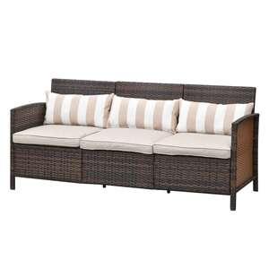Outsunny Rattan Loungesofa als 3-Sitzer braun/grau